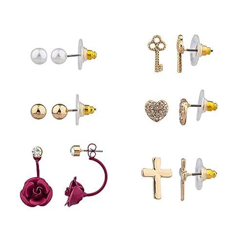 Lux Accessoires Violet Fleur Rose Motif floral Pavé Clé Unlock My Heart Croix Christ multiples Ensemble Boucles d'oreille à tige