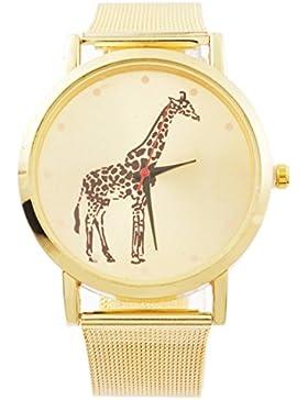 MJartoria Damen Vintage Armbanduhr Giraffe Quarz Uhr Modeschmuck Milanaiseband Mode Design mit Strass Gold Farbe