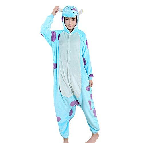 Kuh Milch Kostüm - DUKUNKUN Erwachsene Pyjamas Cartoon/Milch Kuh Pyjamas Kostüm SamtBlau Cosplay Für Tier Nachtwäsche Cartoon Halloween Festival/Urlaub/Weihnachten,S