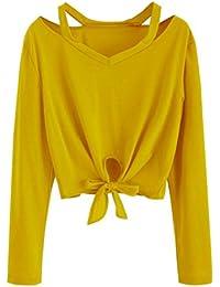 ae4327335de89 Longra Chemisier Femme Fille Chic Col V Laçage Noeud papillon Manches  longues T-shirt Court Femme Blouse Femme Casual Tee shirt…