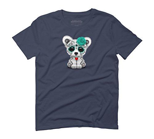 Blue Day of the Dead Sugar Skull Polar Bear Men's Graphic T-Shirt - Design By Humans Navy