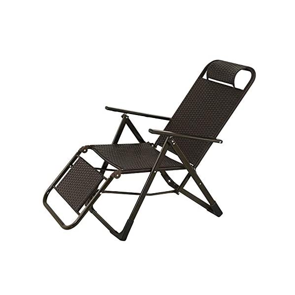 LYATW Thick Zero Gravity Lounge Chair, Terrace Folding Adjustable Chair,Outdoor Garden Garden Folding Chair Folding Lounge LYATW Folding chair: It adopts high-quality U-shaped headrest, which can effectively fit the neck and has good air permeability, so that the head can be well relaxed. Environmentally friendly PE rattan, easy to clean, smooth to the touch and good elasticity. Widened armrest design: With perfect height to ensure your arms are relaxed. The surface is made of environmentally-friendly anti-rust paint, no odor, and more peace of mind. Ergonomic design: easy to switch the angle of the recliner, 9-speed adjustment function, 90 degrees to 160 degrees freely adjustable, allowing you to adjust to the desired angle during use. 1