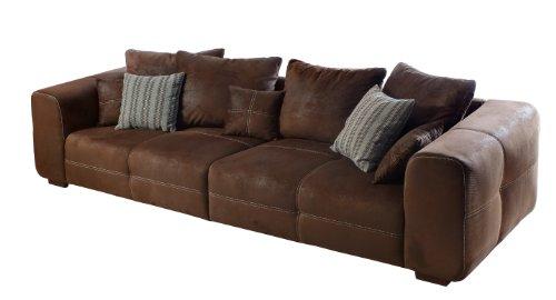 Cavadore Sofa Mavericco / Braune Polster Couch in Wildlederoptik / Mit Kisseneinsatz und Echtholzfüßen / 287x69x108 (BxHxT)