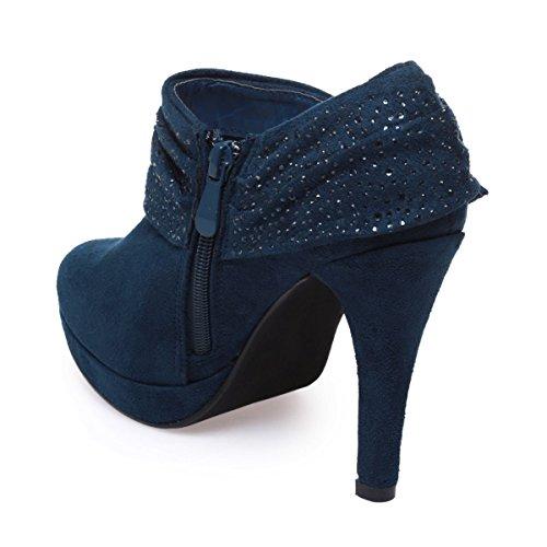 La Modeuse - Low boots aspect daim à talon fins Bleu