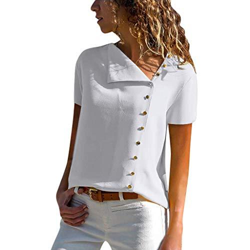 Vimoli Blusen Damen beiläufiges Revers Neck T-Shirt Kurzarm Schnalle Bluse Chiffon Asymmetrie Tops Einfarbig (Weiß,De-40/CN-M) -