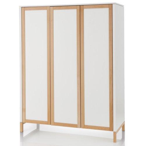 Herlag H1926-0001 Kleiderschrank Alex 3-türig, 150 x 193 x 60 cm, weiß/natur