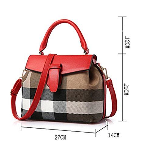 fanhappygo Fashion Retro Leder Damen elegant Plaid Handtaschen Umschlag Schulterbeutel Umhängetaschen rot