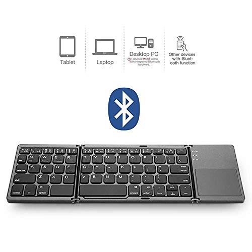 Dreifach Faltbare Bluetooth-Tastatur, universelle, schlanke, tragbare, kabellose 2-in-1-Tastatur, integriertes Multi-Touch-Touchpad, für Laptop/Smartphone/Tablet usw. (Laptop-touchpad)