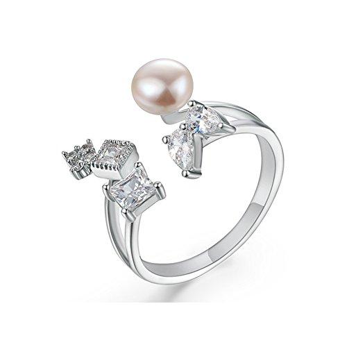 Orkst anello donna in oro bianco 18 carati, anello di apertura,white