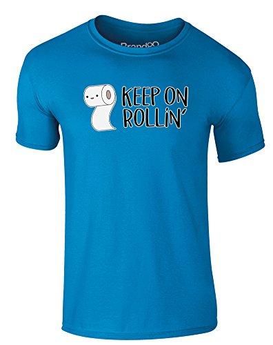 Brand88 - Keep on Rollin', Erwachsene Gedrucktes T-Shirt Azurblau