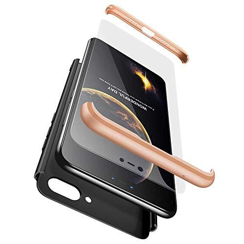 cmdkd Xiaomi Mi 8 Lite Funda, Xiaomi Mi 8 Lite Case Bumper 3 en 1 Estructura 360 Grados Integral para Ambas Caras Hard Skin Carcasa + Cristal Templado para Xiaomi Mi 8 Lite,Oro Negro