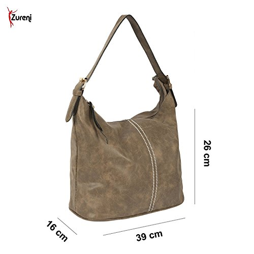 Zureni Imported Women Leather Handbag for Office Multipurpose Daypack for Ladies Shoulder Bag Tote PU Leather Brown Messenger Bag for Girls Fashion Large Capacity Bag for College Travel Shopping - Tan