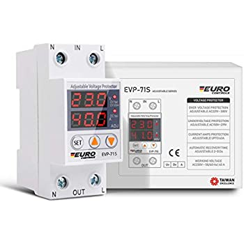 Euro Automatic Adjustable Over/Under Voltage/Over Current Protector with Auto Recovery Switch - Taiwanese Excellence - Voltage & Amp Meter - Din Rail Mount - Single Phase - 63Amps 220V