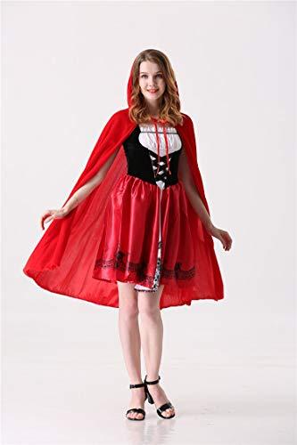 (Neue Rotkäppchen Kostüm Schloss Königin Kostüm Halloween Cosplay Uniform Erwachsene Cosplay Kostüm,Red,XL)