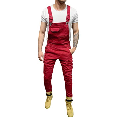 BHYDRY Herrentaschenjeans Overall Jumpsuit Streetwear Overall Hosenträgerhose(X-Large,Rot) -