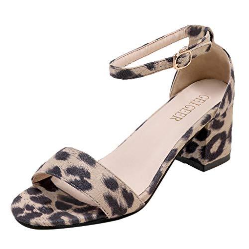 Deloito 2019 Damen Mode Strandschuhe Pantoletten Leopard-Druck Sandaletten Knöchel EIN Wort Schnalle Low-Heels Dicke Sandalen mit Blockabsatz (Beige,36 ()