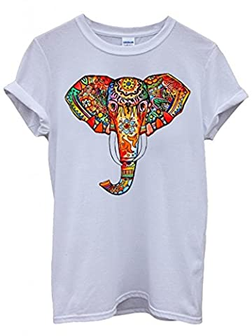 Elephant Ethnic Drawing Colourful Cool Funny Hipster Swag White Men Women Unisex Top T-Shirt -Large