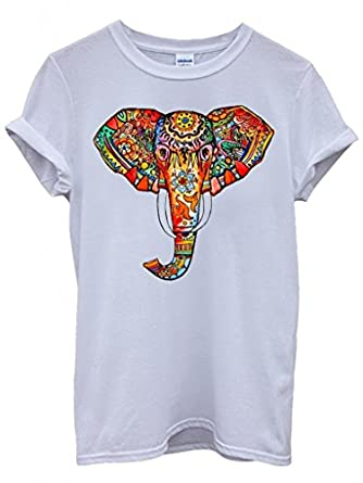 Elephant Ethnic Drawing Colourful Cool Funny Hipster Swag White ...