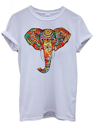 elephant-ethnic-drawing-colourful-cool-funny-hipster-swag-white-men-women-unisex-top-t-shirt-medium