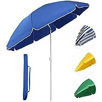 Sekey Sombrilla Ø 160 cm parasol para terraza jardín playa balcón piscina patio, color azul, protector solar UV20+