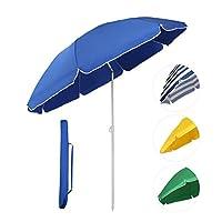 Sekey® Parasol Ø 160 cm inclinable pour patio jardin balcon piscine plage bleu rond Sunscreen uv20+