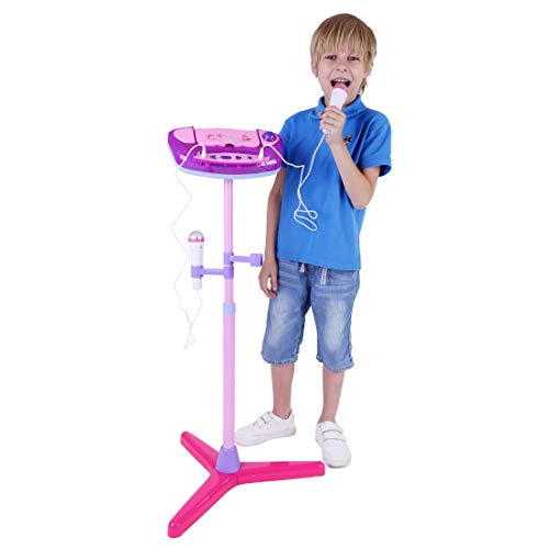 ANNA SHOP Karaoke Mikrophon Kinder Mikrofonständer Kinder mit 2 Mikrofon für MP3-Player, Telefon, Computer oder iPad