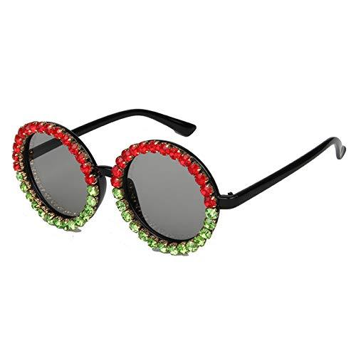 YLNJYJ Sonnenbrillen Runde Sonnenbrille Frauen Vintage Black Crystal Mix Strass Sonnenbrille Für Kinder Kleine Sonnenbrille Oculos De Sol Uv400