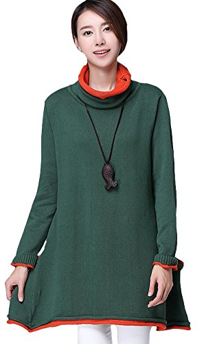 Vogstyle Femme Pull Pure Couleur Sweat Col Rond Manches Longues Vert