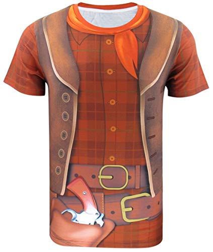 Funny World Maglietta T-Shirt Costume da Cowboy Occidentale di Uomo (Medium, Plaid)
