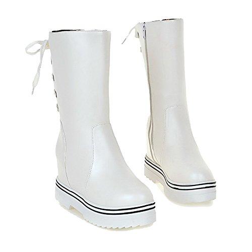 VogueZone009 Damen Ziehen auf Hoher Absatz PU Leder Rein Niedrig-Spitze Stiefel, Weiß, 38