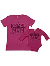SR - Gift Boxed Mum & Baby Gift Set - Rebel Mum & Rebel Baby Matching Mother T-Shirt & Baby Babygrow