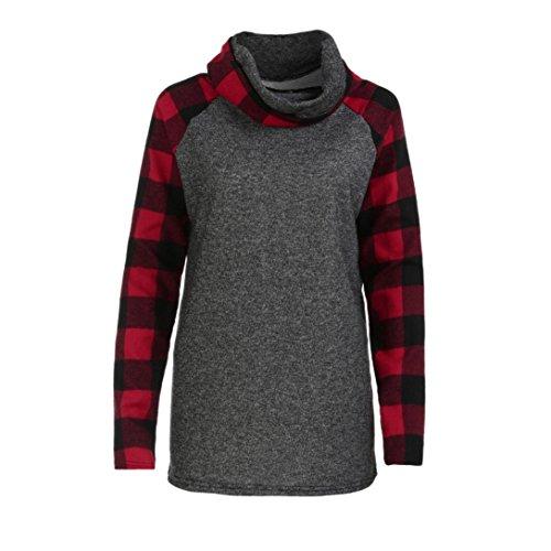 Quistal Sweat Pull Pour Femmes, Pull Polaire Des Plaid Haut col Sweatshirts Cordon Pull Rouge