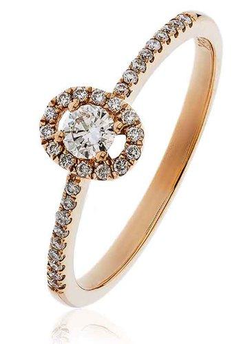 0.25ct Certificato G/VS2Round Brilliant Centro con forma ovale Halo Diamante Anello con diamante spalle in Oro Rosa 18K, oro rosa, 56 (17.8), cod. FL-3338