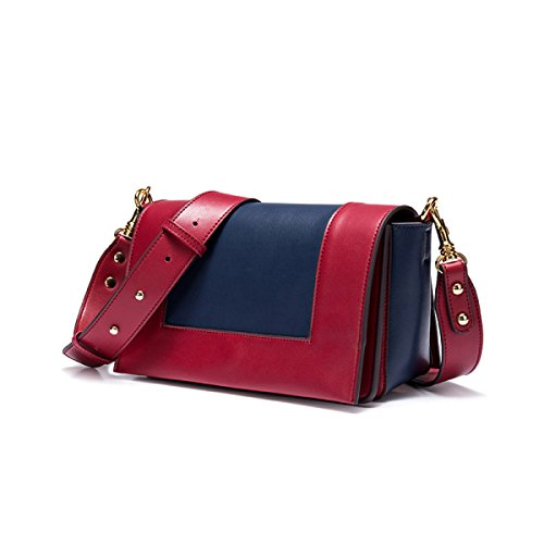 Donne Cuoio Genuino Retro Hit A Colori Singola Spalla Crossbody Bag Piccola Piazza RedWine1