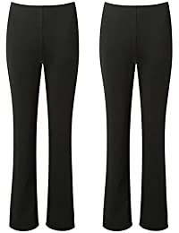 aabc22541ae MISSY LADIES STRETCH TROUSERS PACK OF 2 BOOTLEG STRETCH RIBBED TROUSERS  BLACK SIZE 8-26