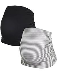 Herzmutter Bauchband für Schwangere im Doppelpack-Set, Umstands-Schwangerschafts-Bauchbänder aus Baumwoll-Mix, Schwarz-Grau-Blau-Rot-Weiß-Gestreift (6000)