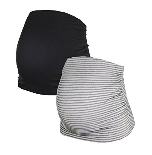 Bauchband für Schwangere im Doppelpack-Set, Umstands-Schwangerschafts-Bauchbänder aus Baumwoll-Mix, in Schwarz, Grau, Blau, Grau-gestreift, HERZMUTTER (6000) (M, Schwarz/Grau-gestreift)