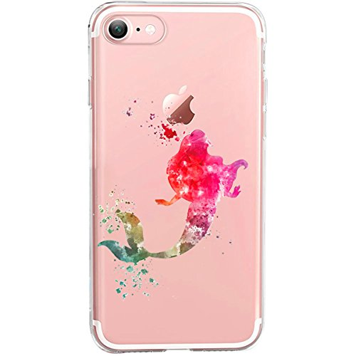 GIRLSCASES® | iPhone 8 / 7 Hülle | Im Macaron Girly Look aus Silikon | Fashion Case transparente Schutzhülle Ariell die Meerjungfrau