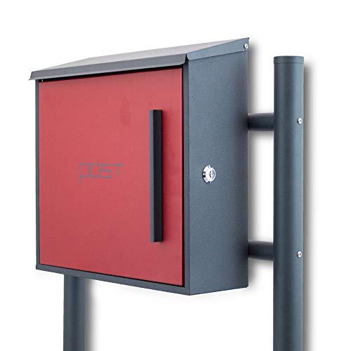 BITUXX® Freistehender Standbriefkasten Briefkastenanlage mit Seitenschloss und Post Schriftzug Dunkelgrau/Rot