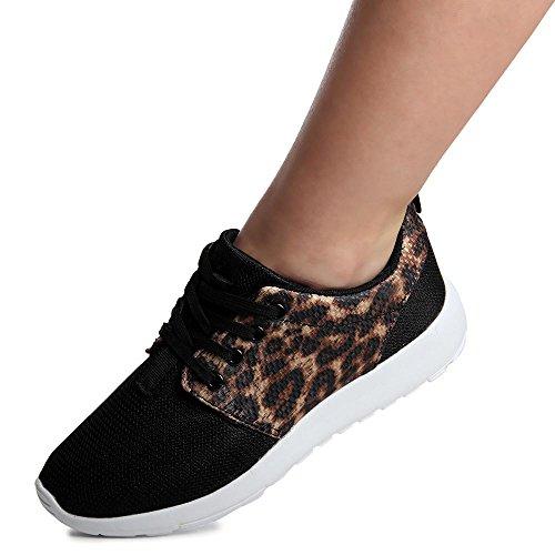 topschuhe24, Sneaker donna Nero (Schwarz Leo)