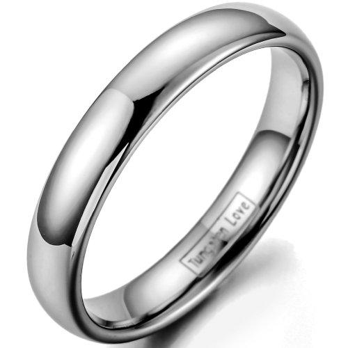 JewelryWe Schmuck 4MM Damen Herren Ring Wolframcarbid Hoch poliert Plain Dom für Verlobung Hochzeitsband Ewigkeit Ring Größe 49 bis 67