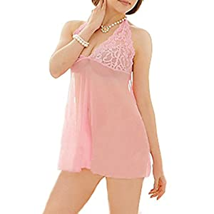 Women's Sexy Lingerie Lace Halter Backless Babydoll Sleepwear Nightdress with G-string