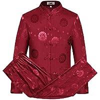 SCDXJ Trajes De Ropa Tradicional China Hanfu Algodón Camisa De Manga Larga Abrigo Hombre Tops Y Pantalones,Red-XL