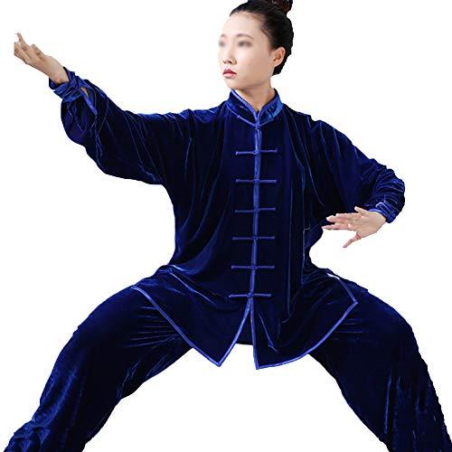 Tai Chi Uniform Anzug Traditionelle Kampfkunst Taiji Kung Fu Qigong Wushu Wing Chun Shaolin Training Klassische Kleidung Lange Ärmel Unisex Saphirblau S