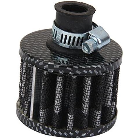 12mm Filtro Entrada de Aire Frío Cárter De Ventilación Turbo para Motor de Coche Gris Negro
