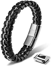 SERASAR   Premium Echtlederarmband für Männer in Schwarz   Magnetverschluss aus Edelstahl in Schwarz, Silber & Gold   Exklusive Schmuckschachtel   Tolle Geschenkidee