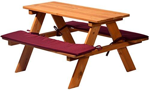 dobar 94353FSC Robuste Sitzbank für vier Kinder aus FSC-Holz mit passenden Sitzauflagen, 89 x 79 x 50 cm, braun