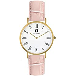 Matt gold men's/ladies' Analog Watch with pink leather lizard-look strap - hand crafted by VON FLOERKE