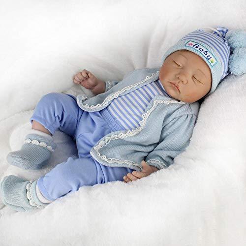 Fancylande muñeca bebé Reborn, Reborn Simulation bebé muñeca réaliste Juguetes muñecas Reborn accompagnant para niños educación précoce Regalo de cumpleaños Azul