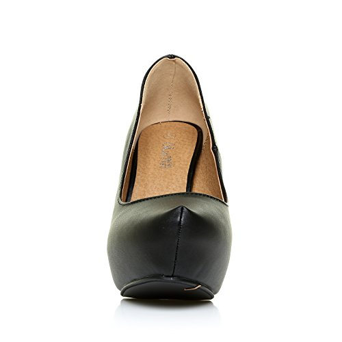 ShuWish UK - Chaussures Cuir PU Noir Stiletto Talon Haut Compensé H251 Noir pu